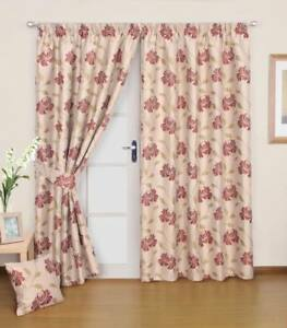 Image Is Loading Lined Woven Beige With Red Floral Detail Curtains