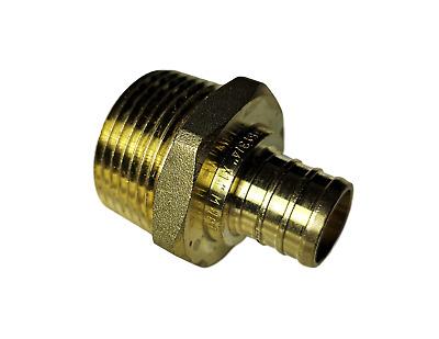 "Brass Crimp Fitting LEAD-FREE 3//4/"" PEX x 3//4/"" Male NPT Threaded Adapter"