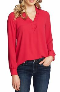 Cece Womens Blouse Pink Size Small S Ruffle V-Neck Long Sleeve Top $69 390