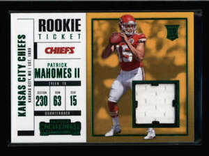 PATRICK MAHOMES II 2017 CONTENDERS ROOKIE TICKET GREEN USED WORN JERSEY FC9214