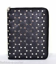 ALEXANDER McQUEEN SKULL STUDDED BLACK LEATHER ZIPPED iPad COVER CASE BNWT BOX