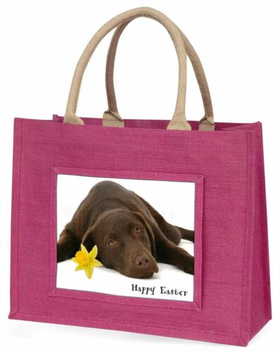 'Happy Easter' Chocolate Labrador Large Pink Shopping Bag Christma, ADL54DA1BLP