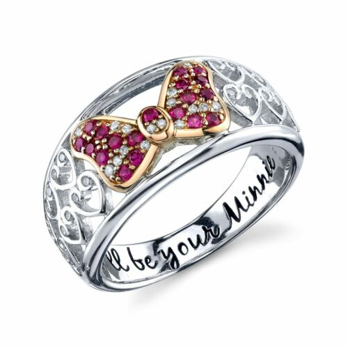 STERLING SILVER GENUINE NATURAL DIAMOND CREATED RUBY DISNEY MINNIE MOUSE RING 8