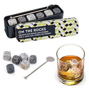 On-the-Rocks-Gift-In-A-Tin-Whisky-Gin-Ice-Cube-Rocks-amp-Stirrer-Set-NEW