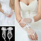 White Lace Opera Dress Fingerless Wedding Evening Bridal Accessory Short Gloves