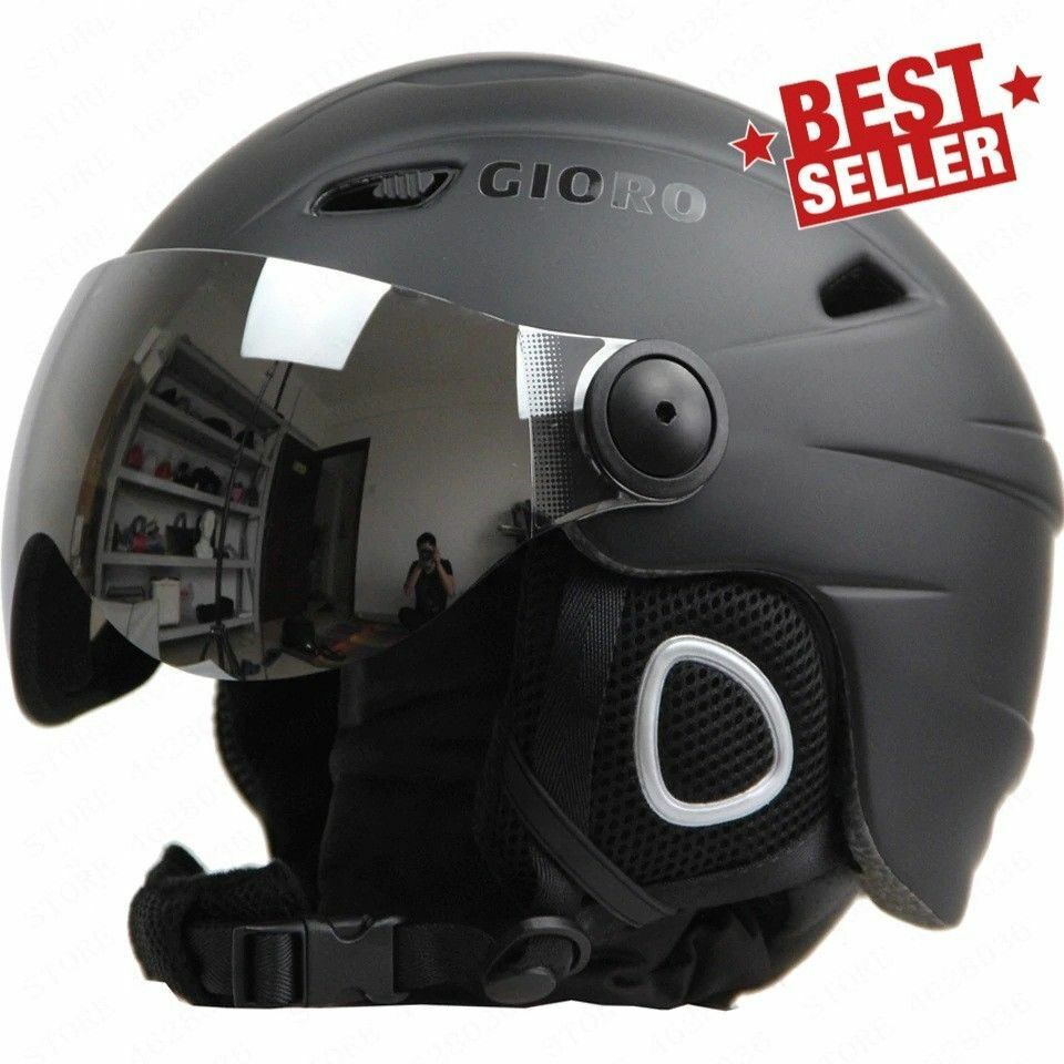 Ski Snowboard Helmet With Visor Goggles Sled Sport Adult Safety Windproof Winter