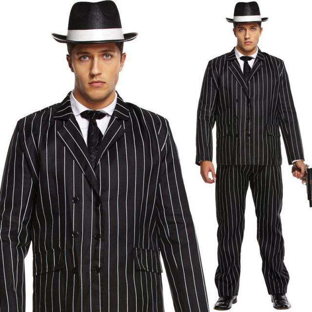 0f13fcb9456 Gangster Costume Mens 1920s Godfather Mafia Pinstripe Suit Adults ...
