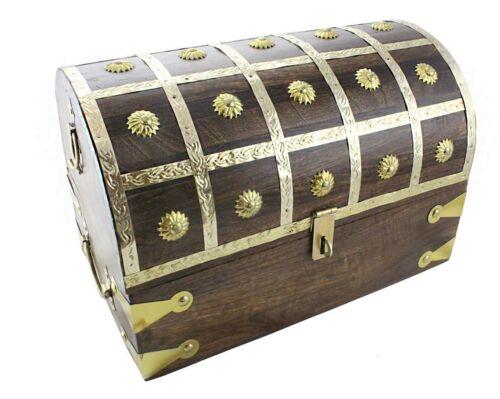 "Large Pirate Treasure Chest 14/""x8/""x9/"" Brass Decorative Keepsake Box Lock Hasp"