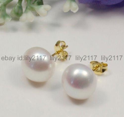 Fashion 11-12 mm Naturel Blanc Akoya eau douce Perle Boucles D/'Oreilles 14K plaqué or