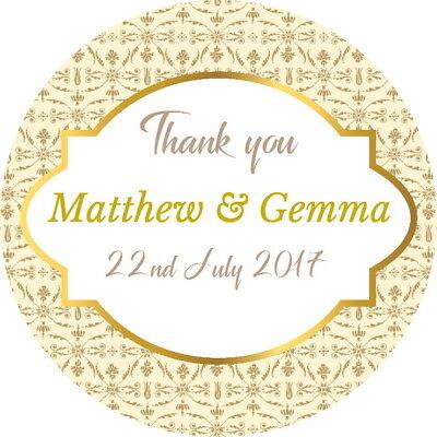 Pratico Matrimonio Personalizzato Favore Etichette, Adesivi Di Ringraziamento Qualità Lucido Crema E Oro-