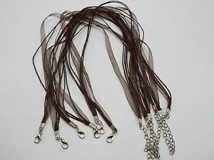 20-Brown-Organza-Ribbon-Waxen-Cord-Necklace-17-034-Lobster-Clasp-Fit-DIY-Pendant