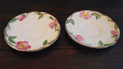 2 Vintage 1950s Franciscan Desert Rose Saucers Pottery Ivory Pink Green Floral
