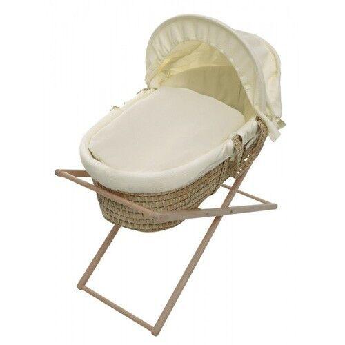 Reborn baby Waffle Moses Basket Covers 4 Piece Set Inc Quilt,Skirt,Hood /&Sheet