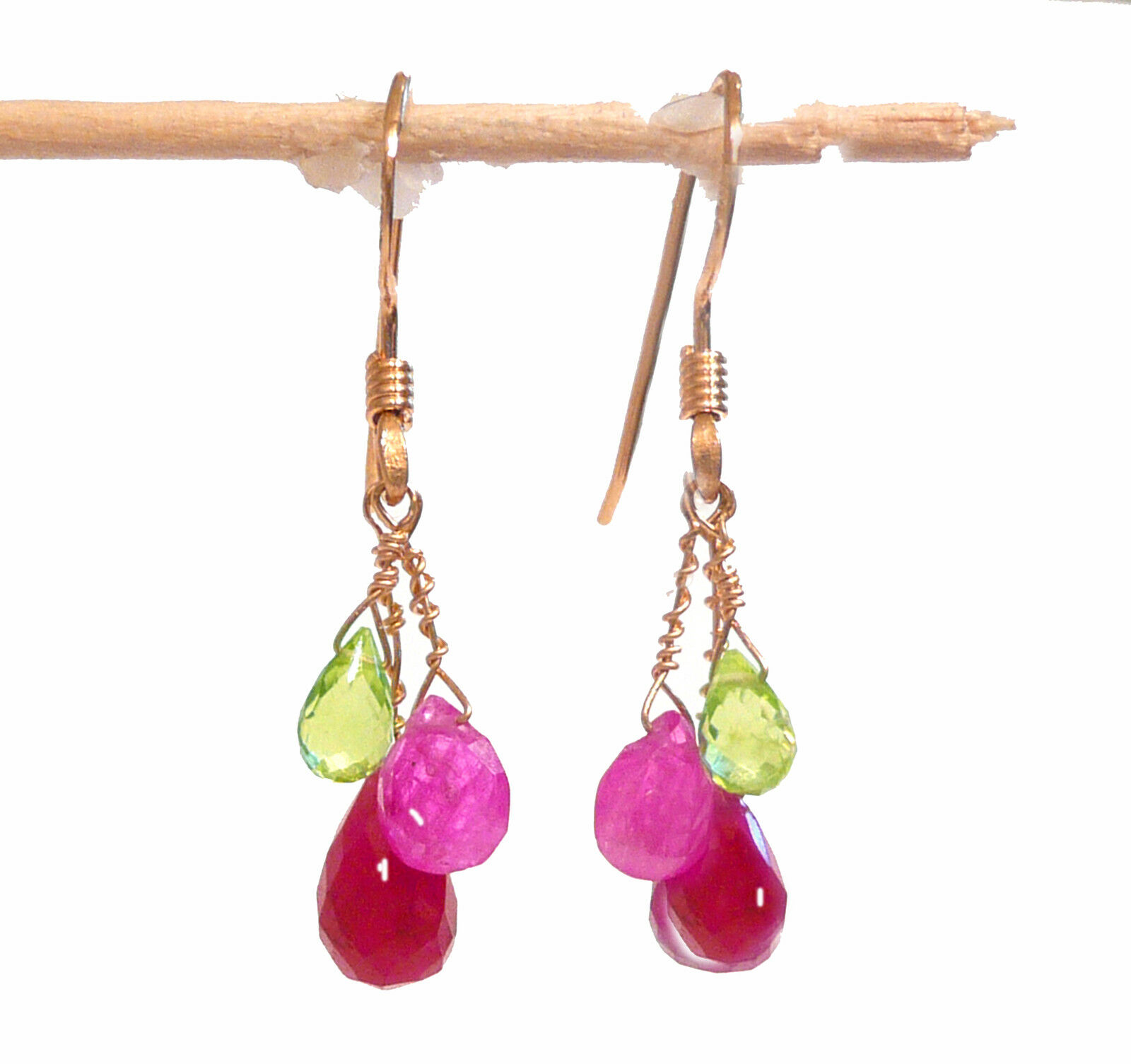 Real peridot pink sapphire ruby earrings 6ct briolettes teardrop 1.2  solid 14k