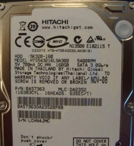 """Hitachi HTS543216L9A300 PN:0A57363 MLC:DA2352  160gb 2.5/"""" Sata Laptop Drive"""