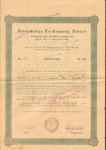Dibru-Sadiya-Tea-Company-gt-Calcutta-India-bond-certificate-100-Rupees-share