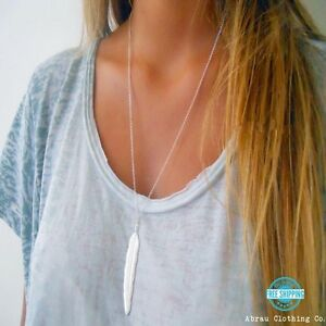 Silver-or-Gold-Long-Simple-Minimalist-Layering-Boho-Feather-Pendant-Necklace-USA