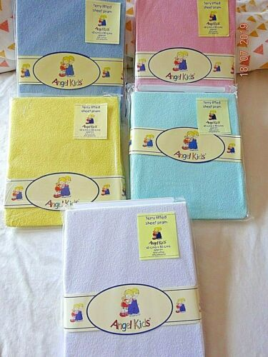 Pram Mattress Fitted Stretch Terry Fitted Sheet Yellow,White,Pink,Blue 40x80 cm