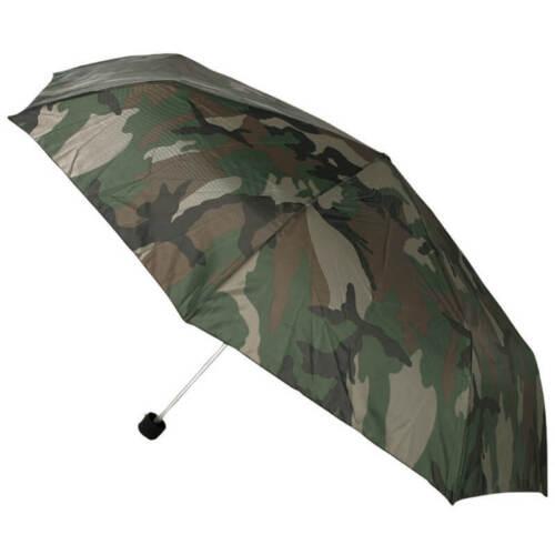 Mens Supermini Foldable Umbrella Woodland Camo Camping Fishing Festival Travel