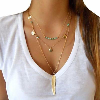 Lady Multilayer Irregular Feather Arrow Pendant Chain Statement Necklace Gift