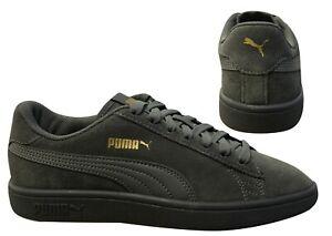 Detalles de Puma Smash v2 Gris ante Cuero Cordones Informal Zapatillas  Hombre 364989 17 B41E