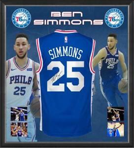best service ef9e9 51a3b Details about BEN SIMMONS HAND SIGNED PHILADELPHIA 76ERS JERSEY NBA  BASKETBALL FRAMED AUSSIE