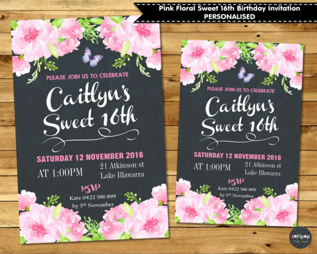 PINK FLORAL SWEET 16TH BIRTHDAY PARTY INVITATION INVITE 18TH BRIDAL BABY SHOWER