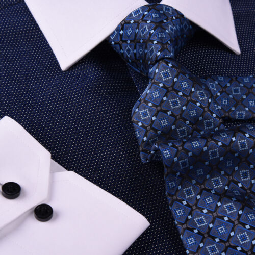 Dark Navy DOT With White Contrast Collar /& Cuff For Formal Business Dress Shirt