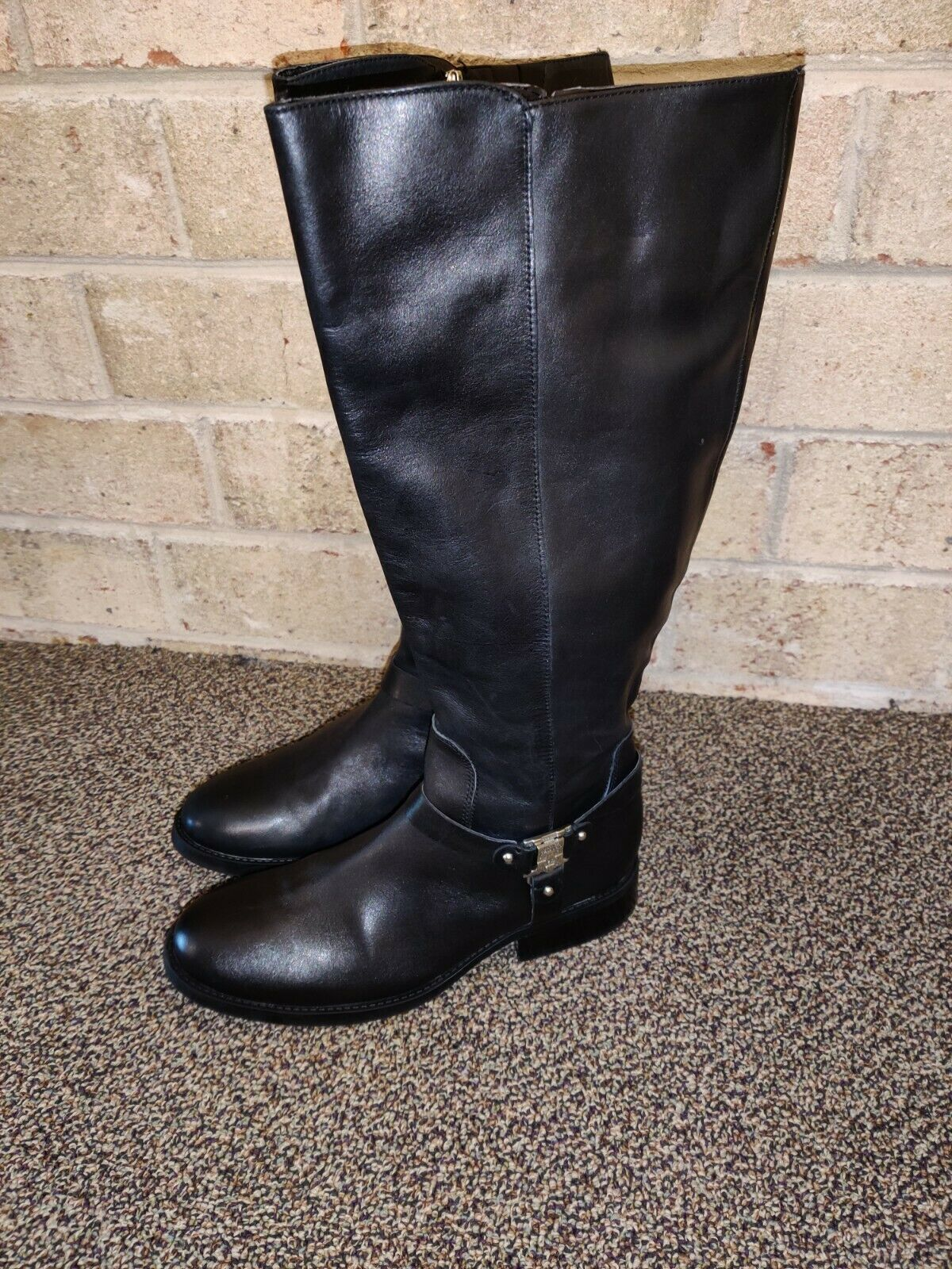 Vince Camuto Farren Black Leather Knee Riding Boots Women's Size 10