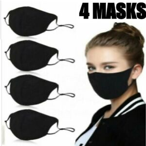 4-Pack-Face-Mask-Three-Layer-Black-Washable-Reusable-Cotton-Cloth-Ships-From-USA