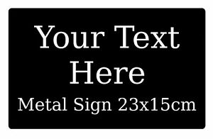 Personalised Metal Aluminium Sign Plaque For House Office Pub Shed 23x15cm Black