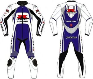 2PC Mens Suzuki Motorcycle Leather Suit Racing Motorbike Leather Suit 1PC