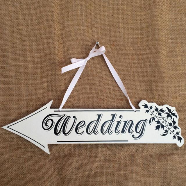 White Wooden Wedding Direction Arrow Sign Wedding Ceremony Reception Decor LJ