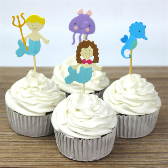 24pcs ocean style hippocampus mermaid cupcake toppers decor party supplieJB