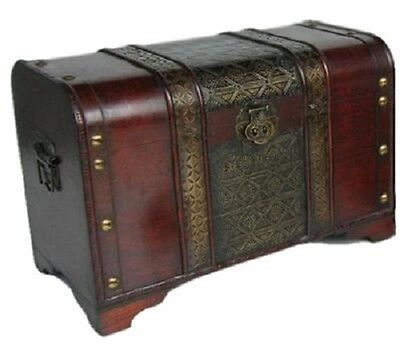 Old Fashioned Medium Wood Storage Trunk Wooden Treasure Chest