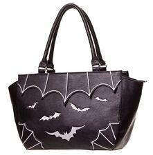 BANNED Goth Bats Faux Leather Handbag Shoulder Bag Gothic Vampire Black WHITE