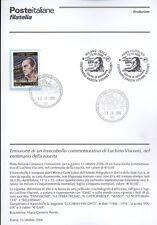 ITALIE 2006 BULLETIN DE LUCHINO VISCONTI COMPLET DE TIMBRES FDC