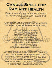 Candle Spell for Radiant Health, Book of Shadows Spells Page, Witchcraft, Wicca