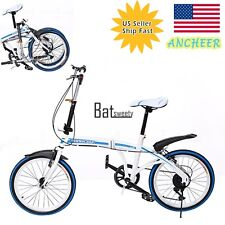 """20""""Folding Bicycle 6-Speed Foldable Bike Cycling Outdoor Carbon Steel Blue"""