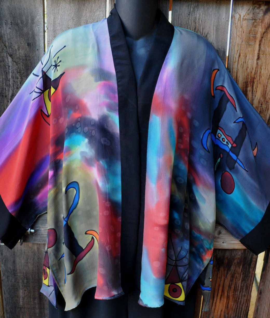 DILEMMA HAND PAINTED VITAL INSPIRED SILK ART TO WEAR KABUKI KIMONO-ONE OF A KIND