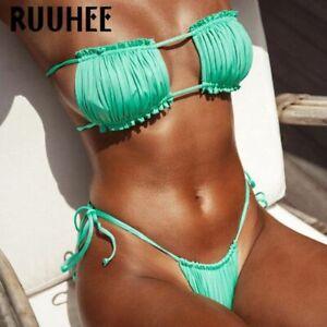 Damen-Bandeau-Traegerloser-Bikini-Set-Push-up-Pad-Rueschen-Badeanzug-Bademode