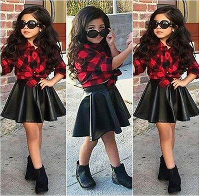 Kid Toddler Girls 2PCS Clothes Princess Plaid Tops Shirt +Leather Skirt Outfits