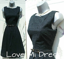 Splendido anni'50 stile Broderie Anglaise Swing Jive giorno/Tea Dress 10 eu38