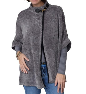 Chenille Poncho With Neck Toggle