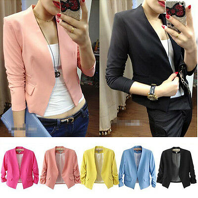 Women Casual Slim Solid Suit Blazer Jacket Coat Top Outwear Fashion Candy Colors