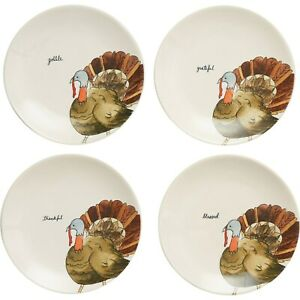 Rae-Dunn-Turkey-Thanksgiving-8-034-Appetizer-Plates-Set-of-4-FALL-2020-NEW