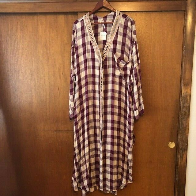 NWT damen's Free People Live for Today Plaid lila Buttondown Large