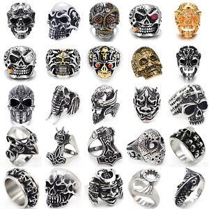 090c989df492b New Men's Titanium Steel Retro Gothic Punk Skull Head Biker Finger ...