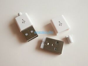 20X-USB-2-0-Type-A-Plug-4-pin-Male-Adapter-Solder-Connector-White-Cover-3-Piece