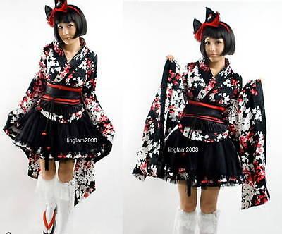 Robe gothic lolita geisha kimono Top+Skirt+Belt SZ  Kleid Size S